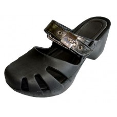 S5800L-B Wholesale Women's Wedge Clogs ( *Black Color )
