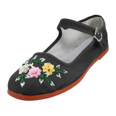 S588L-B Wholesale Women's Cotton Upper With Sequins Mary Jane Shoes ( *Black Color )