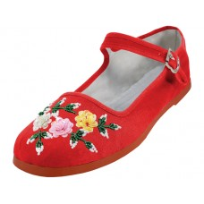 S588L-R - Wholesale Women's Cotton Mary Jane With Sequin ( *Red Color )