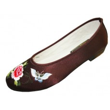 S608L-T Wholesale Women's Satin With Butterfly Emb. ( Brown ) *Closeout $2.00/Prs Case $48.00 )