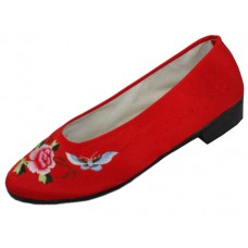 S608L-R - Wholesale Women's Satin Embroidered Shoes ( *RedColor ) *Closeout $1.75/Pr Case $42.00