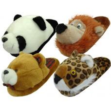S612L - Wholesale Women's Plush Animal Head House Slipper ( *Asst. 4 Animal )
