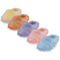 S631-M - Wholesale Women's Hairy Plush Upper Close Toe  House Slippers ( *Asst. Lt. Blue, Lt. Purple, Beige And Yellow )