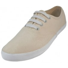 S656L-CREAM Wholesale Women's Chambray Upper With Shoe Lace Shoes ( *Cream Color )