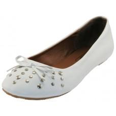 S7100L-W Wholesael Women's Stud Ballerina Shoes ( * White Color )