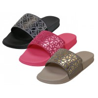S7117L-A Wholesale Women's Rhinestone Top Slide Sandals ( *Asst. Black, Beige And Fuchsia )
