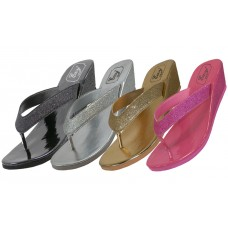 W7150L-A - Wholesale EasyUSA Women's Metallic Glitter Wedges Flip Flops ( *Asst. Gold Silver Black & Fuchsia )