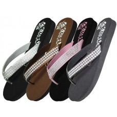 W720L-A - Wholesale EasyUSA Women's Flower Print With Rhinestone Look Flip Flops ( *Asst. Black Silver Pink & Brown )