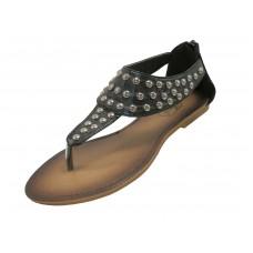 S7700L-B Wholesale Women's Studded Thong Sandals With Back Zipper  ( *Black Color ) *Close Out $2.50/Pr Case $45.00