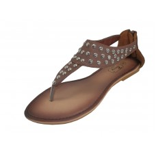 S7700L-T Wholesale Women's Studed Thong Sandals with back zipper ( *Brown Color ) *Close Out $2.50/Pr Case $45.00