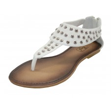 S7700L-W Wholesale Women's Studded Thong Sandals With Back Zipper  ( *White Color )