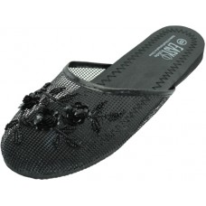S788-BB - EasyUSA Women's Mesh Upper With Sequin Comfort Slippers ( *Black Color )