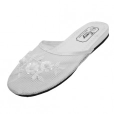 S788L-WW Wholesale Women's Mesh Upper With Sequin Comfortable Slipper ( *White Color )