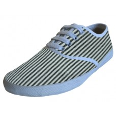 S794L - Wholesale Women's Striped Canvas Shoes ( *Gary/White or Pink/White )