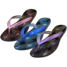 "S8089L-A - Wholesale Women's ""EasyUSA"" Metallic Sparkle Upper Rubber Thong Flip Flops ( *Asst. Blue, Hot Pink & Purple )"