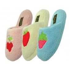 S8338 - EasyUSA Women's Micro Fiber Fruit Embroidered House Slippers ( *Asst. Blue, Pink And Yellow ) *Last 8 Case