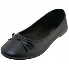 "S8500L-B Wholesale Women's ""EasyUSA"" Comfort Soft Pu. Upper Ballet Flat Shoes ( *Black Color ) *Available In Single Size"