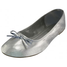 """S8500L-S - Wholesale Women's """"EasyUSA"""" Metallic Comfort Ballet Flat Shoes   ( *Metalllic Silver Color ) *Available In Single Size"""