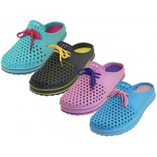 S8840L-A Wholesale Women's EasyUSA  Slip On Open Back Sandals ( Asst. Black/Yellow. Blue/Pink. Purple/Hot Pink And Fuchsia/Aqua )