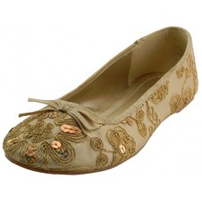 S9100L-G Wholesale Women's Sequin Ballet Flats ( *Gold Color )