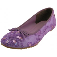 "S9100L-PURPLE - Wholesale Women's ""EasyUSA"" Sequin Ballet Flat Shoes  ( *Purple Color )"