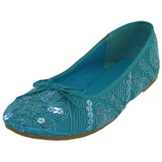 S9100L-Q Wholesale Women's Sequin Ballet Flats ( *Turquoise Color )