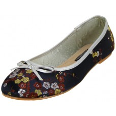 S9200L-B Wholesale Women's Satin Brocade Ballet Flats ( *Black Color )