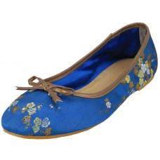 S9200L-Blue Wholesale Women's Satin Brocade Ballet Flats ( *Blue Color )