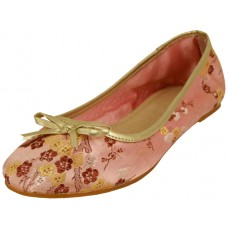 "S9200L-P Wholesale Women's ""EasyUSA"" Satin Brocade Ballet Flat Shoes  ( *Pink Color )"