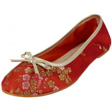 "S9200L-R - Wholesale Women's ""EasyUSA"" Satin Brocade Ballet Flat Shoes  ( *Red Color )"