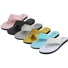 "S9449L-A - Wholesale Women's ""EasyUSA"" Sequin Upper Metallic Flip Flops * Asst. 6 Color (Closeout $1.25/Pr Case $45.00)"