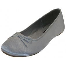 """S9500L-S - Wholesale Women's """"EasyUSA"""" Satin Ballet Flat Shoes ( *Silver Color )"""