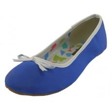 """S9700L-Blue Wholesale Women's """"EasyUSA"""" Satin Ballet Flat Shoes  ( *Neon Blue Color )"""