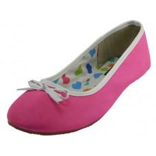 S9700L-F Wholesale Women's Satin Ballerina Shoes ( *Neon Fuchsia )