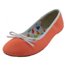 """S9700L-A - Wholesale Women's """"EasyUSA"""" Satin Ballet Flat Shoes  ( *Neon Orange Color )"""