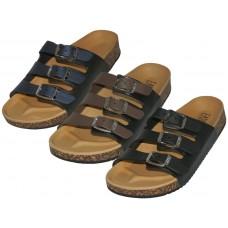 S977-L - Wholesale Women's Slide 3 Buckle Slide Sandals ( *Asst. Black Brown And Navy )