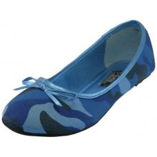 """S9800L-X - Wholesale Women's """"EasyUSA"""" Camouflage Ballet Flat Shoes  ( *Blue Color )"""