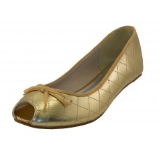 S9801L-Gold Wholesale Women's Open Toe Ballet Flats ( *Metallic Gold )