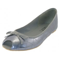 S9801L-Pewter Wholesale Women's Open Toe Ballerina Shoes ( *Metallic Pewter )