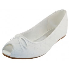 S9801L-W Wholesale Women's Open Toe Ballet Flats ( *White Color )