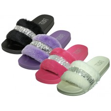 "S9889L-A - Wholesale Women's "" EasyUSA "" Faux Fur Upper With Rhinestone Top Slide Sandals ( 4 Assorted Colors Black, Purple, Hot Pink & Ivory )"