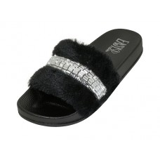 "S9889L-BB - Wholesale Women's ""EasyUSA"" Faux Fur Upper With Rhinestone Top Slide Sandals ( *Black Only)"