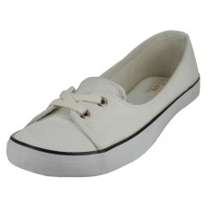 "SS0580L-W Wholesale Women's ""EasyUSA"" Lace Up Canvas Shoe ( *White Color )"