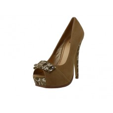 "STEFY-010-G Wholesale Women's ""Mixx Shuz"" High Heel Pump Mettalic Gold With Bow Tie Sandals ( *Gold Print )"