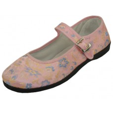 "T2-112L-P Wholesale Lady's ""EasyUSA"" Satin Brocade Upper Mary Janes Shoe ( *Pink Color )"