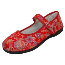 T2-112L-R - Wholesale Women's Brocade Upper Mary Janes Shoe ( *Red Color )