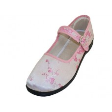 "T2-113L-P Wholesale Women's ""EasyUSA"" Satin Brocade Plum Flower Upper Mary Janes Shoe ( *Pink Color )"