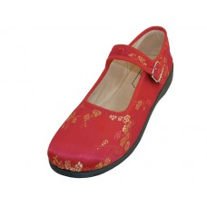 T2-113L-R Wholesael Women's Satin Brocade Plum Flower Upper Mary Janes Shoe ( *Red Ciolor)
