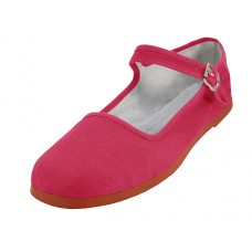 "T2-114L-F Wholesale Women's ""EasyUSA"" Classic Cotton Upper Mary Janes Shoe ( *Fuchsia Color ) *Available In Single Size"