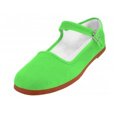 "T2-114L-Green Wholesale Women's ""EasyUSA"" Classic Cotton Upper Mary Jane Shoes ( *Green Color ) *Available In Single Size"